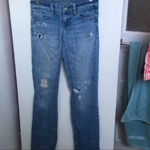 American Eagle, light wash distressed jeans